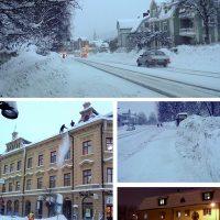 Mobilbilder på ett snörikt Sundsvall