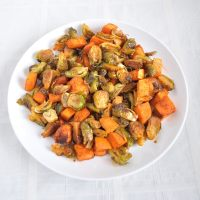 Smokey Roasted Brussel Sprouts and Sweet Potatoes