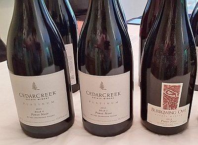 CedarCreek, Burrowing Owl Pinot Noir wines