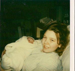 Newborn C and me (20 years ago)