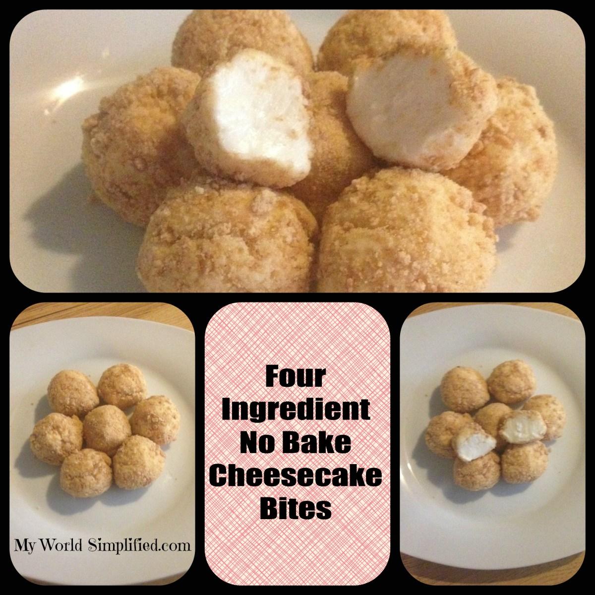No Bake Cheesecake Bites Recipe - myworldsimplified.com