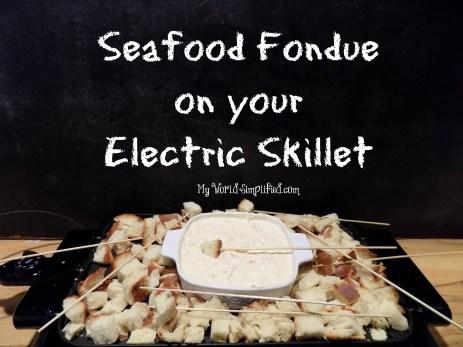 Seafood fondue on skillet