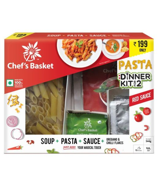 Chef's Basket Red Sauce Pasta and Soup Dinner Kit for 2 + Rs.200 BookMyShow Movie Voucher