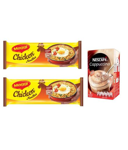Maggi Chicken Noodles (Pack of 2) + Nestle Cappucino