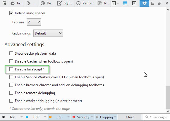 The disable JavaScript option in the developer tools settings.