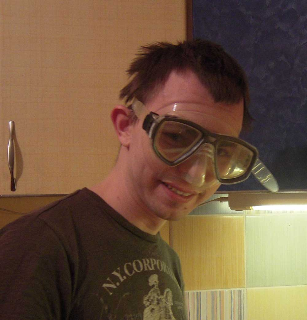 Мужик в водолазной маске