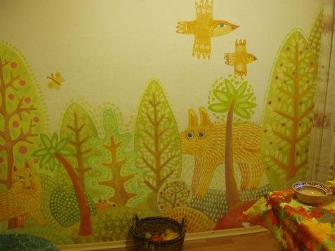 роспись стены на кухне