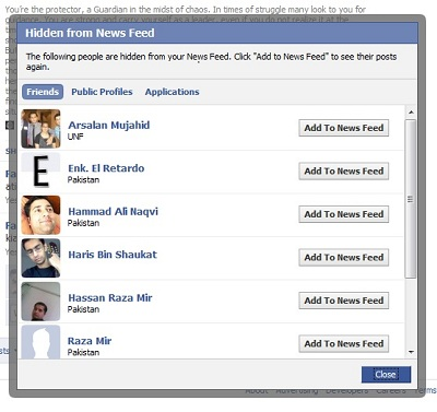 show / hide friends feed from facebook