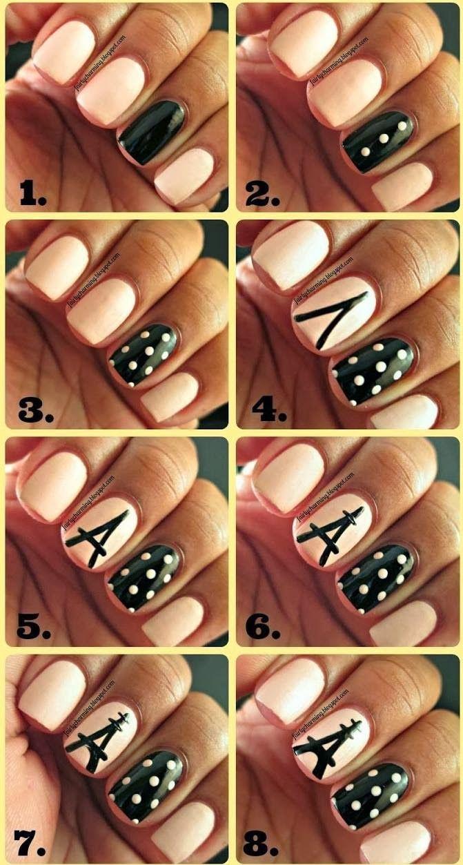 Легкие дизайны ногтей пошагово