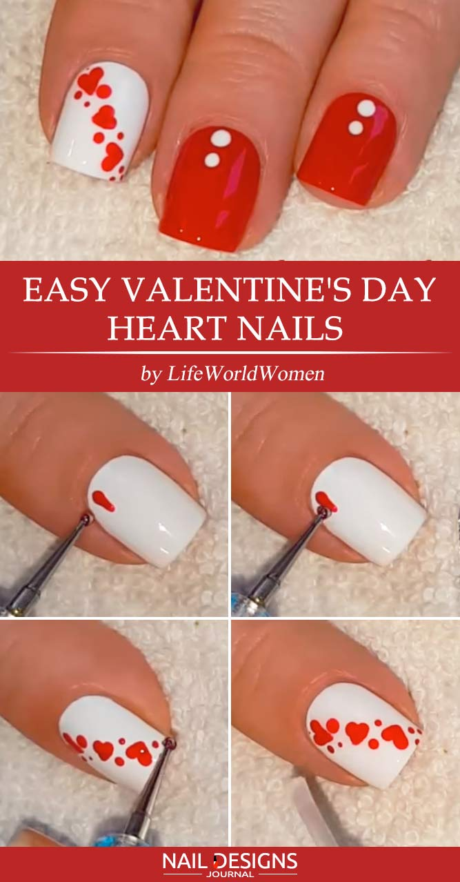 Easy Heart for Valentines Nails