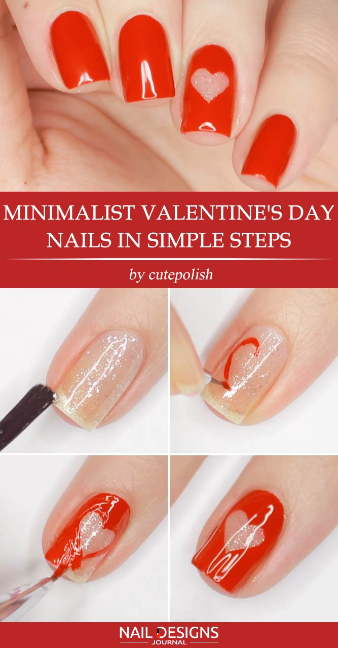 Minimalist Valentines Nails in Simple Steps