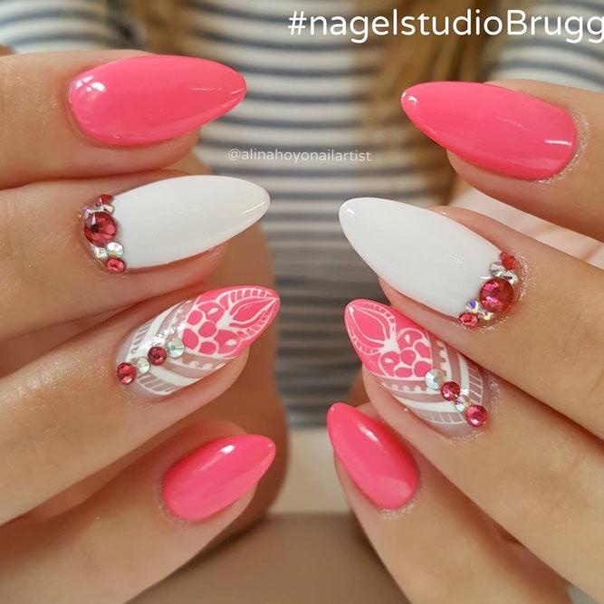 Mandala Inspired Designs With Summer Bright Colorful Nail Base