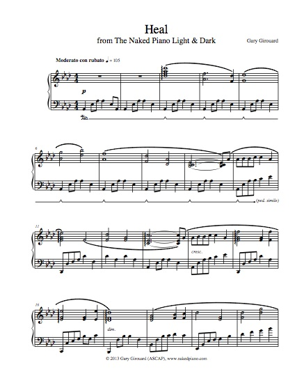 """Heal"" Solo Piano Sheet Music (from the Naked Piano Light & Dark)"