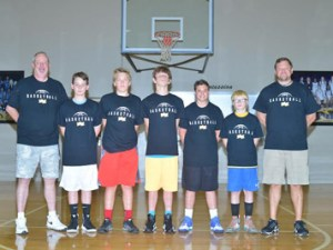 The following are those from Union County that participated in the 2016 Tiger Basketball Camp.(From left): Camp instructor Don Reed of New Albany, Eli Reed of Ingomar, Tyson Smithey of Ingomar, Luke Laird of Blue Springs, Bauer Bishop of Ingomar, Ethan Hatfield of Blue Springs and Northeast head coach Cord Wright.