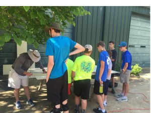 Members of Scout Troop  17 working on an Eagle Scout Service Project