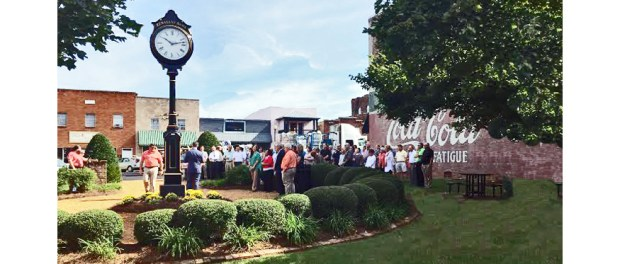 View of clock dedication from Main Street.