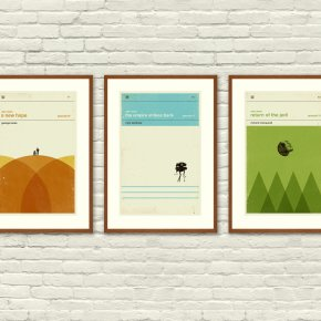 Star Wars Art Prints - £38.41 from Etsy For a slightly different take on the Star Wars Trilogy why not try these minimal prints re-imagining the films as children's books? These are almost stylish enough to not look nerdy at all. Almost.