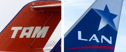 Foto com calda de aviões mostrando claramente o logo de ambas.