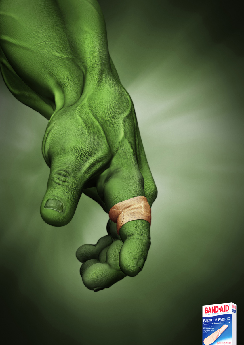 Band Aid Print Advert By JWT  Hulk   Ads of the World       Band Aid Print Ad   Hulk