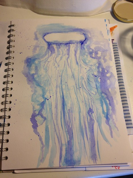 jellyfish in blue ink, sketchbook, ideas, ink and water, ink pen