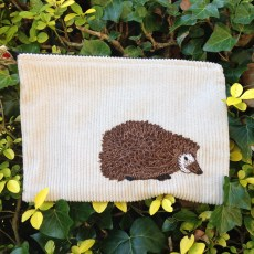 current work, portfolio, current, bag tidy, ipad mini case, kindle case, zip pouch, beige cord, hedgehog, freehand machine embroidery, women