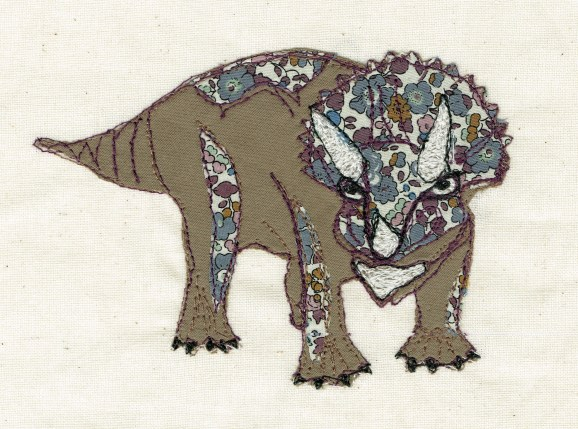 triceratops freehand machine embroidery art work
