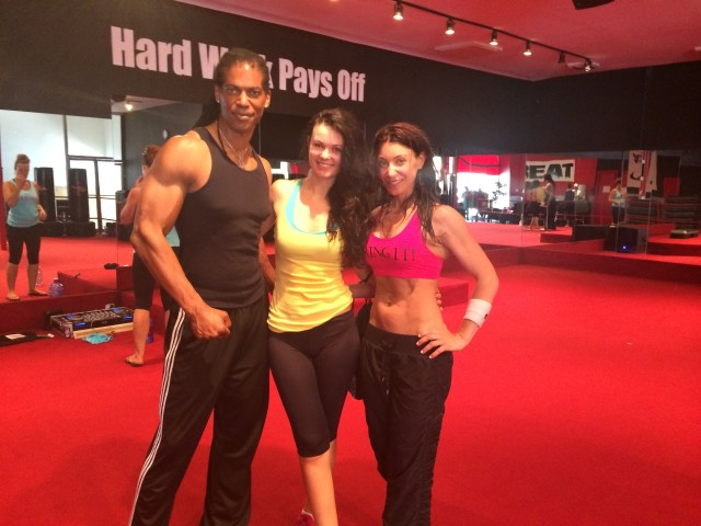 "William ""Mayhem"" Romeo, Natasha Blasick & Nathalie Bernard at The Beat Fitness in Sherman Oaks, CA"