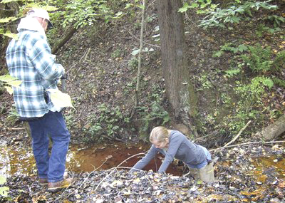 Exploring Leading Creek as part of monitoring efforts in 2009