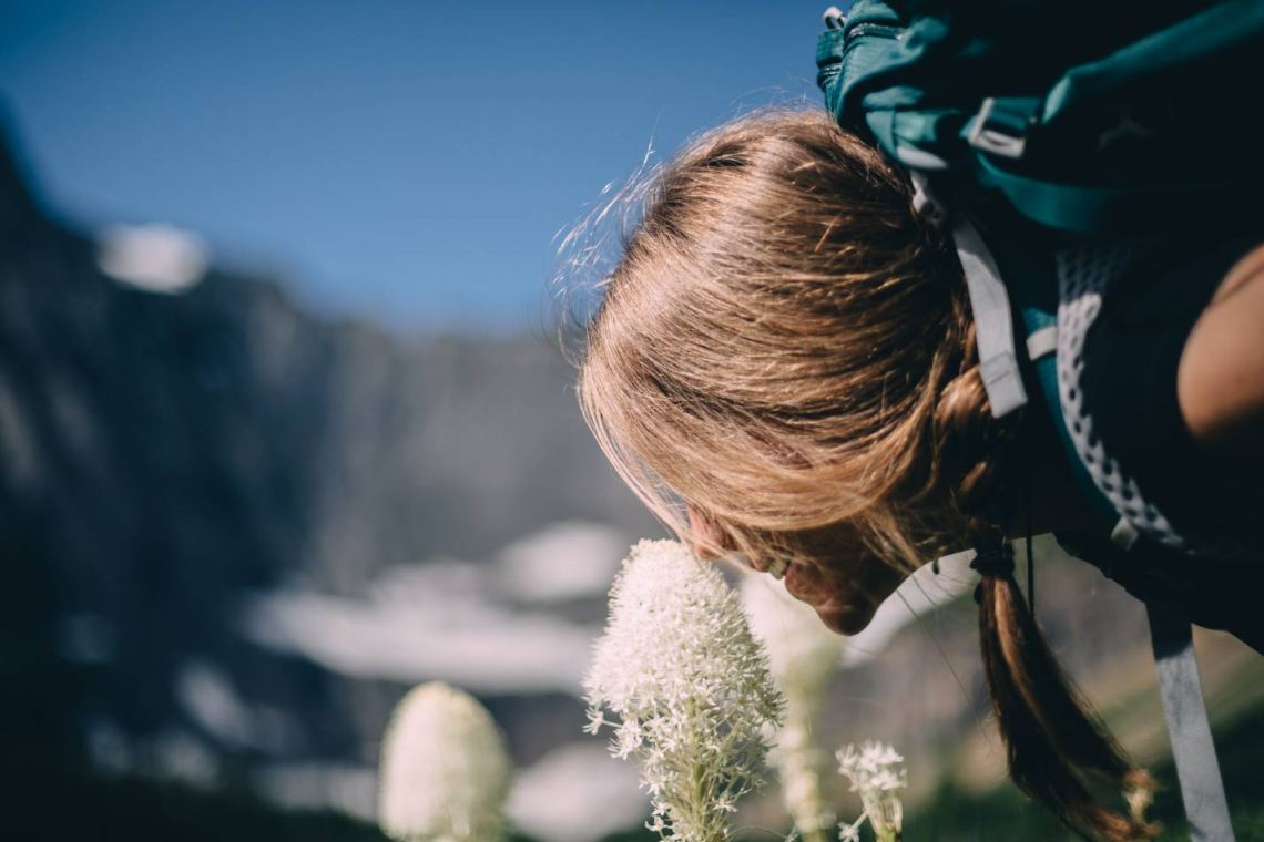 magical_glacier_national_park_smelling_flowers