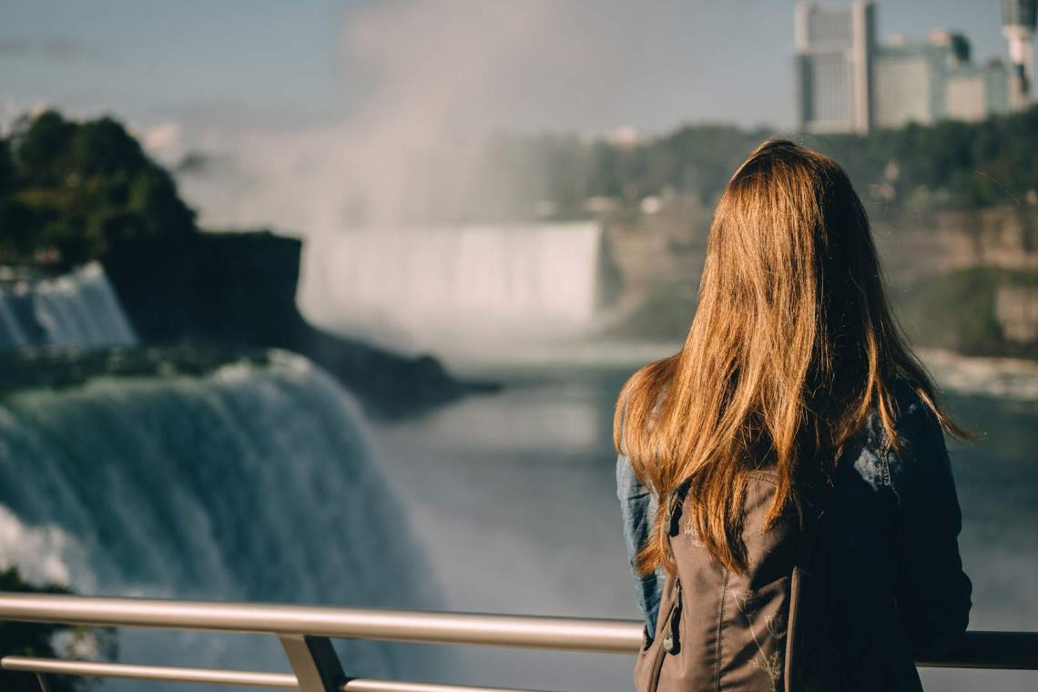 Gazing at Niagra Falls on route to Acadia, a place where the clash between natural and built is obvious.