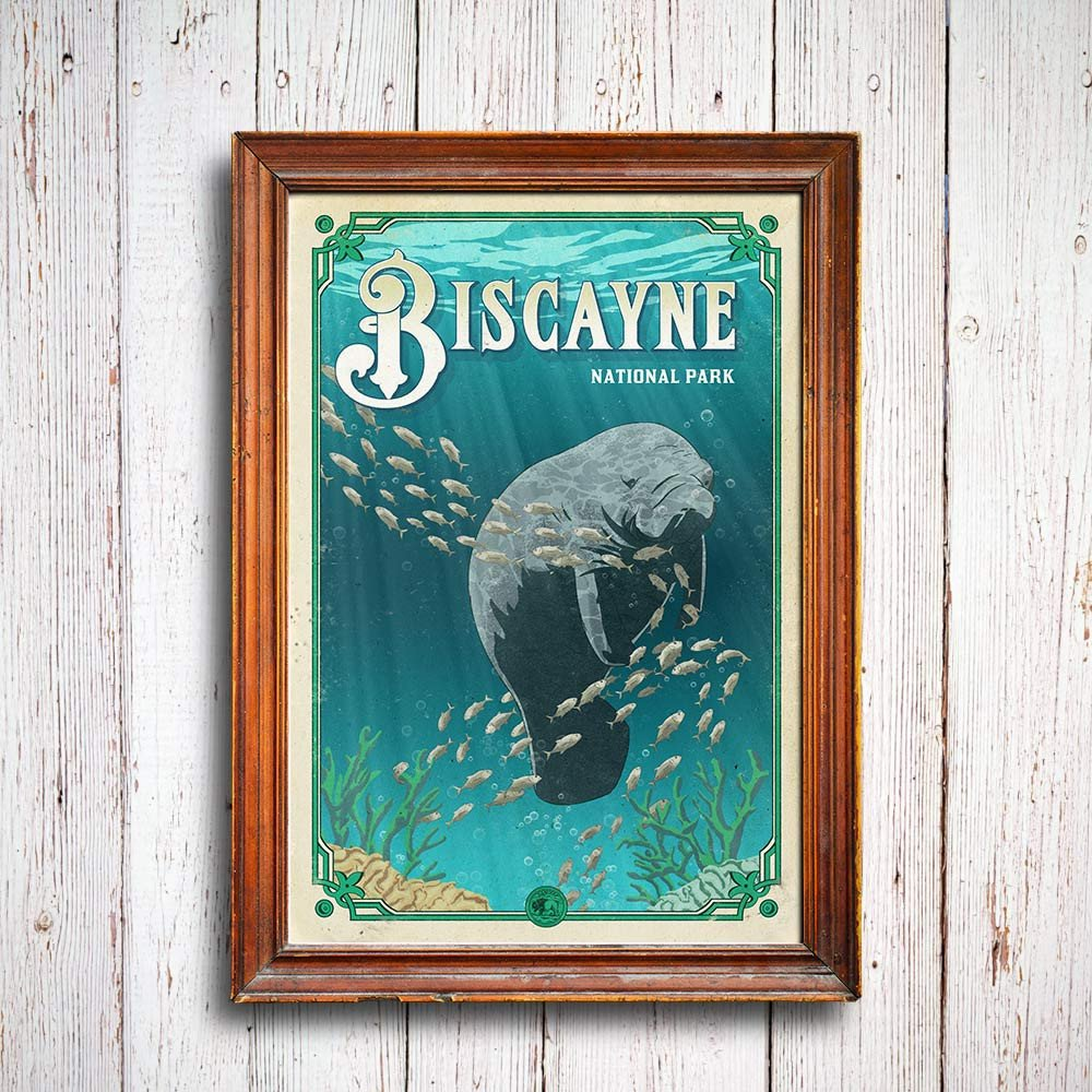 manatee_alligator_love_story_biscayne_poster_national_park_quest
