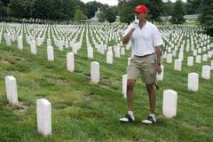 While a man laid burning on his lawn, Obama casually goes golfing in the Veteran's Cemetery.