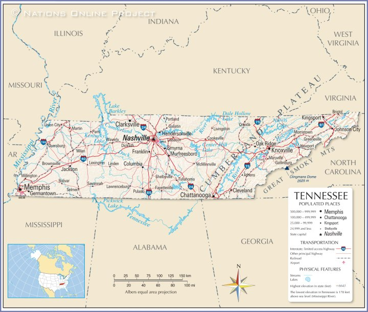 Tennessee Map. Time Zone Map Kentucky Tennessee. View Original ...