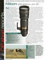 Cover of Outdoor Photographer: OP Short Reports...Nikon 200-400mm f/4 VR