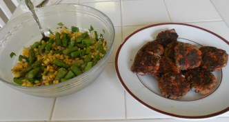 Black Bean Burgers with Corn and Asparagus Salad