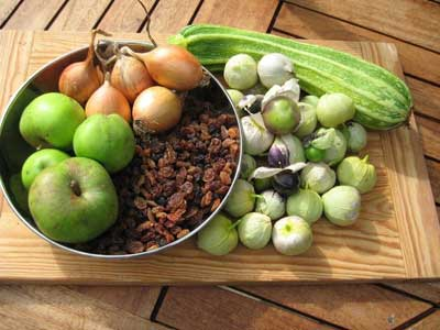 Tomatillo chutney ingredients