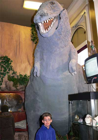 Boris the plastic dinosaur in Genesis Expo