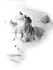 Green River butes Sketch, Pencil.