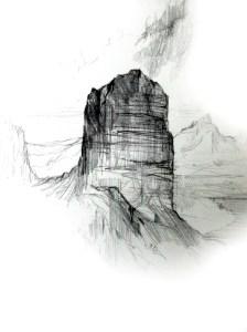 Tollgate Rock Sketch, pencil