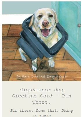 dog and bin greeting card
