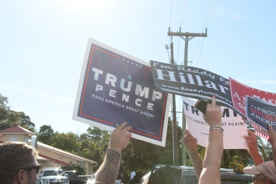 Dueling rallies outside of  a local restaurant  showed strong support for Trump in the Sarasota community