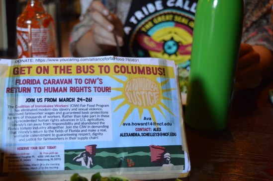 The CIW fundraiser event featured a vegetarian friendly dinner and discussion on the CIW.