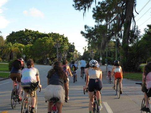 photo courtesy Cole Zelznak. A live stream of the Sept. 30 Critical Mass, in which dozens of student bikers participated, can be found on the NCF Catalyst Facebook.