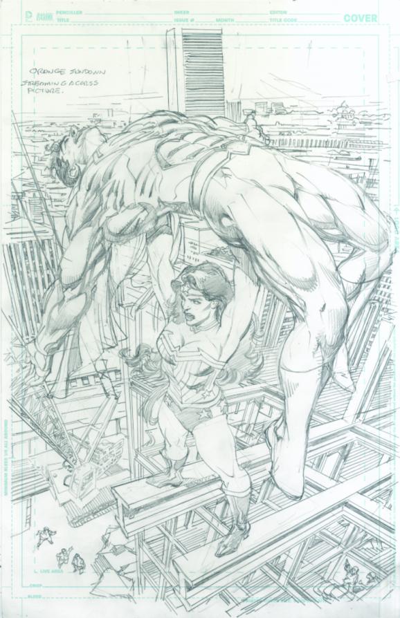 "Neal Adams' variant cover pencils to ""Superman/ Wonder Woman #26."""