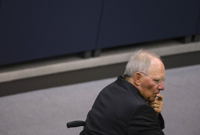 German Finance Minister Wolfgang Schäuble gazes thoughtfully to the left.