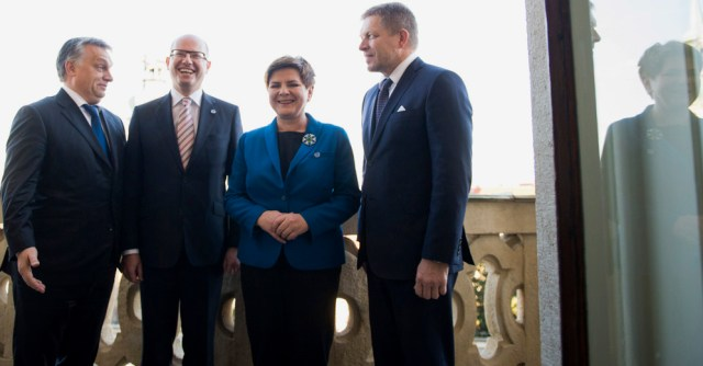 A meeting of the Visegrad group, Viktor Orban, Bohuslav Sobotka, Beata Szydło, Robert Fico
