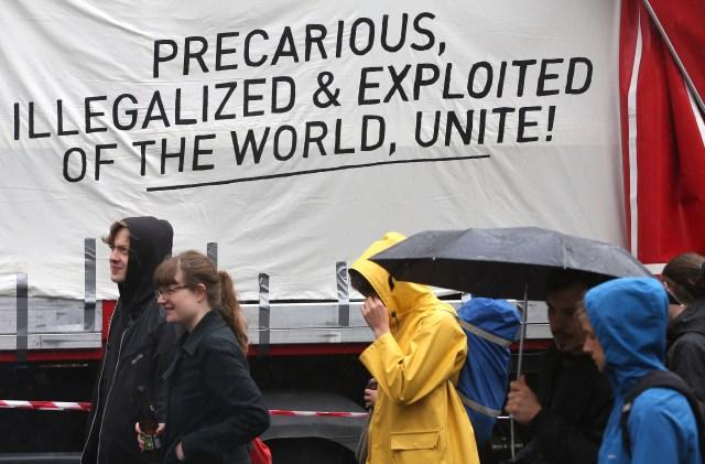 Protestors at Blockupy demonstration in Berlin, Germany