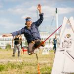 The slackline field was designed and built by Bradley, Northern Edge