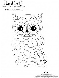 Free embroidery pattern: Owl