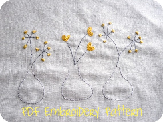 Modern blooms original embroidery pattern needle work